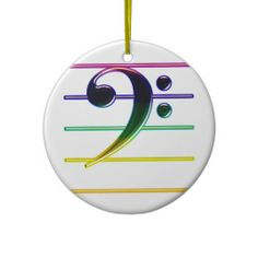 SOLD: Rainbow Bass Clef Music Note Christmas Ornaments by Graphic Allusions (more available).