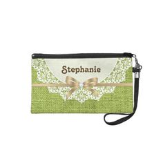 White doily with lace  lime green colored burlap custom wristlet purse.