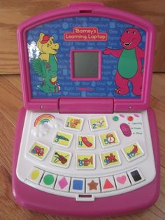 BARNEY'S LEARNING LAPTOP Electronic Developmental Computer Toy Lyons 1999 #TigerElectronics