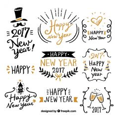 happy new year with fantastic hand drawn labels free vector