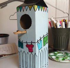 Fuglehus af mælkekarton Hygge, Ideas Para, Crafts For Kids, Birds, Outdoor Decor, Diy, Inspiration, School, Home Decor