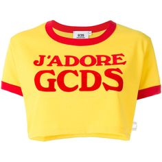 Gcds logo cropped T-shirt (1.893.775 VND) ❤ liked on Polyvore featuring tops, t-shirts, yellow, crop t shirt, logo t shirts, yellow top, yellow tee and cut-out crop tops