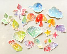 Colorful Stickers. Rainbow Stickers. Crystal by BeagleCakesArt