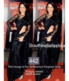 Pragya Jaiswal Black Queen Bollywood Replica Saree by Vendorvilla Bollywood Designer Sarees, Latest Designer Sarees, Bollywood Saree, Bollywood Fashion, Lace Saree, Satin Saree, Sari, Saree Dress, Black Saree Plain