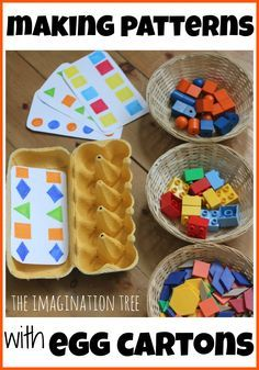 Ideas for DIY color/shape sorting using egg cartons and pattern cards.  Perfect…