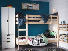 A kids' bedroom with a MYDAL bunk bed in solid pine and a STUVA wardrobe in white.