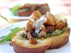 butternut squash bruschetta with sage pesto