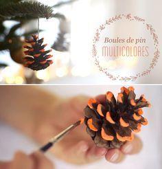 DIY : apprenez à réaliser des pommes de pin multicolores, pour décorer votre sapin ou votre table de Noël