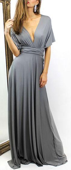 Slate Gray, Multiway, Elastic Cross, Maxi Dress ==