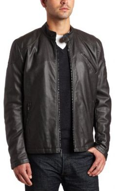 Men's Faux Leather Moto Jacket by Kenneth Cole Reaction