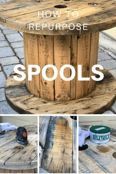 Wood Spool Tables, Cable Spool Tables, Wooden Cable Spools, Wire Spool, Wooden Spool Projects, Diy Wood Projects, Repurposed Wood Projects, Electrical Spools, Wire Reel