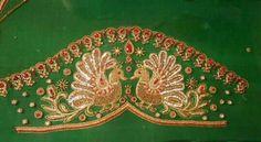 Vennela Peacock Blouse Designs, Peacock Embroidery Designs, Pattu Saree Blouse Designs, Simple Blouse Designs, Stylish Blouse Design, Blouse Designs Silk, Bridal Blouse Designs, Peacock Design, Maggam Work Designs