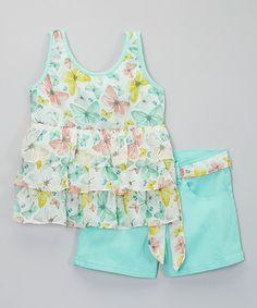 Look what I found on #zulily! Mint Butterfly Chiffon Tank & Shorts - Toddler & Girls #zulilyfinds