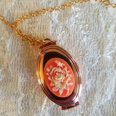 Rose Gold Cameo Locket Necklace Holds Four Picture Carnelian Rose Resin Cameo by JewelsVictoriana on Etsy