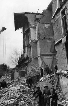 WWII bombing of Ashworth Mansions, Maida Vale. The building was devastated by a V1 flying bomb (doodlebug) on the night of 22 June 1944.