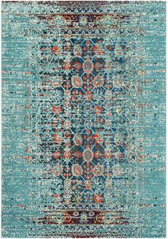 Rug from Monaco collection. Free-spirited and vibrantly colored, Monaco Collection rugs bring Bohemian-chic flair to folkloric and formal Persian designs. A mix of high and low loop pile is power-loomed of long-wearing polypropylene in classic tex Carpet Runner, Rug Runner, Aqua Area Rug, Rugs Usa, Contemporary Area Rugs, Grey Carpet, Modern Carpet, Cool Rugs, Carpet Colors