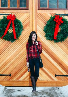 Decorate the Season-leather collar plaid shirt