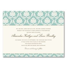 Our wedding invitations: William Arthur Damask in Robin's Egg Blue, Charcoal Ink