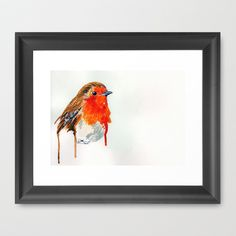 Robin Framed Art Print by Paint The Moment - $35.00