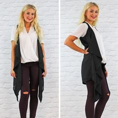 Glamorous Sleeveless Black Waterfall Chiffon Waistcoat Available Instore And Online www.pinkcadillac.co.uk Pink Cadillac, Workwear, High Fashion, Duster Coat, Waterfall, Kimono Top, Chiffon, Glamour, Stylish