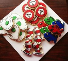 Dr Seuss cookies found on Smash Cakery on Facebook - green eggs - cat in the hat - thing one two, red blue, green, white, shape