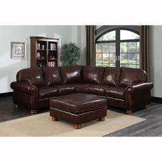 Melrose Dark Italian 3-piece Sectional Sofa Set