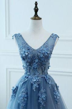 Blue Tulle V-neckline New Style Party Dress   BeMyBridesmaid Blue Lace Prom Dress, Blue Evening Dresses, Tulle Prom Dress, Prom Dresses Blue, Cheap Prom Dresses, Prom Party Dresses, Tulle Lace, Beaded Chiffon, Dress Party