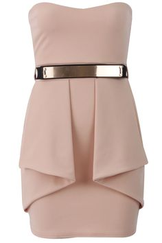 Vestido palabra de honor péplum rosa palo-Strapless Bodycon with Peplum and Belt Nude-Cheap worldwide shipping