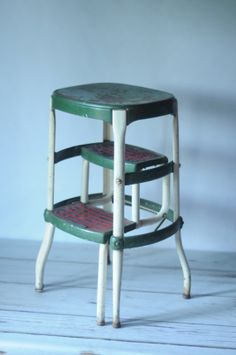 Vintage Cosco Kitchen Step Stool Green And White MidCentury Modern Metal  Stool