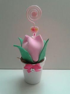 Vasinho flor e porta recadinho em e.v.a
