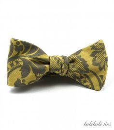 Yellow self-tie cotton bowtie with grey flowers