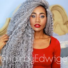 """Silver CROCHET BRAIDS done by me on @efikzara. A glamorous goddess wave and a great #protectivestyle for the winter."