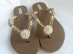 Bridal Flip Flops / Bronze Beach Wedding Flip by RossyAccesorios, $40.00