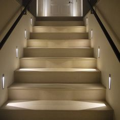 The stairs! Here are 26 inspiring ideas for decorating your stairs tag: Painted Staircase Ideas, Light for Stairways, interior stairway lighting ideas, staircase wall lighting. Outdoor Stair Lighting, Led Stair Lights, Staircase Lighting Ideas, Stairway Lighting, Outdoor Stairs, Staircase Design, Stairs With Lights, Grand Staircase, Carpet Staircase