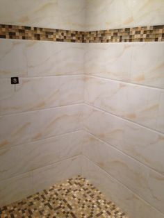 Onyx Mosaic and Porcelain in shower! #bathroomdesign #interiordesign #tile #mosaic