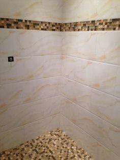 Onyx Mosaic and Porcelain in shower! #bathroomdesign #interiordesign #tile #mosaic