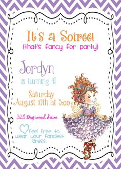 Custom digital DIY Fancy Nancy Birthday Party Invitation. $10.00, via Etsy.