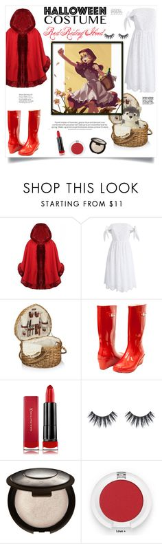 """""""Red Riding Hood"""" by elisabetta-negro ❤ liked on Polyvore featuring Chicwish, Capcom, Forever Young, Max Factor, Halloween, halloweencostume, Halloweenparty, halloweencostumes and halloweenmakeup"""