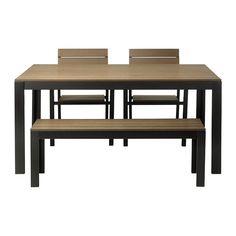 FALSTER Bord, bänk och 2 karmstolar - svart/brun  - IKEA