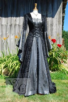 Medieval gray decorated gown