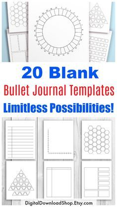20 Blank Bullet Journal Templates- What can these templates be used for? Everything and anything! You'll find the perfect templates for habit/mood/sleep trackers, daily logs, note keeping, list making, and much more! With these 20 printables and a bit of imagination, there's no limit to what you can create! | #bujo #bulletJournal #planner #printable #plannerAddict #Etsy