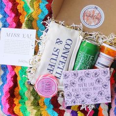 Miss your best friend? Show her just how much you miss her by sending her the most fun and unique care package! This gift from Packed Party has all the essentials when it comes to missing your BFF such as a bestie vacation fund piggy bank, teleporting pills, missing you sucks sucker, you're like really really pretty stationary, and the amazing confetti and stuff makeup pouch! When you bestie gets this is the mail, she will know just how much you miss her!