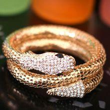 Nuovo arrivo vintage punk strass curvo stretch braccialetto del polsino del retro del serpente del braccialetto 5CV6(China (Mainland))