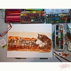 Derzeit darf ich das Buchprojekt www.mushing-george.de illustrieren, dessen Erlös dem Aufbau einer Auffangstation für verwaiste Huskies in Granada zugute kommen wird. Dieses Bild der Alhambra mit dem Schlittenhund wird einen Artikel der Website schmücken. #wandklex #auftragskunst #aquarell #kunst #hahnemuehle #art #comission #painting #husky #dog #hund #etsyseller #etsyshop wandklex.etsy.com #etsyresolutionDE #etsyresolution2016 #sleddog #tierschutz #book #buch