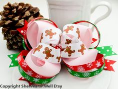 #Christmas Hair Bow Large Hair Bow for Girls by SheWearsitWell, $14.50