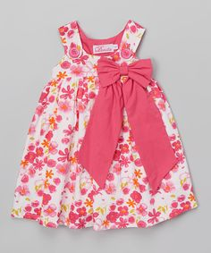 Take a look at this Donita Pink Bow Sleeveless Dress - Infant & Toddler today! Frocks For Girls, Kids Frocks, Little Dresses, Little Girl Dresses, Girls Dresses, Girls Frock Design, Baby Dress Design, Baby Girl Dress Patterns, Baby Girl Fashion