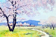 Watercolor Scenery, Watercolor Canvas, Watercolor Landscape, Watercolor Paintings, Watercolor Painting Techniques, Watercolour Tutorials, Painting & Drawing, Tree Sketches, Drawing Sketches
