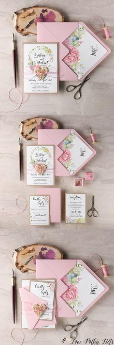 Pink garden roses and succulent wreath wedding invitations #pinkwedding #weddingideas