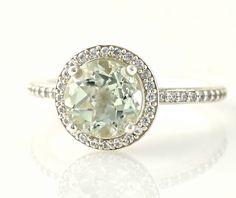 14K Green Amethyst Ring Diamond Halo Engagement Ring White Yellow or Rose Gold Custom Bridal Jewelry. $826.00, via Etsy.