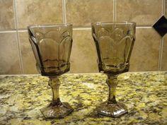 """2 Fostoria Virginia Water Goblets ~ Brown 7 1/4 """" ESTATE SALE FIND"""
